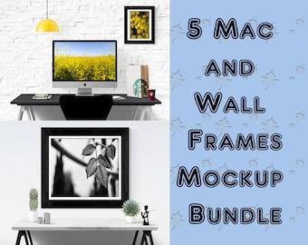 5 Mac & Frames Mockup Bundle ( Pre-made )
