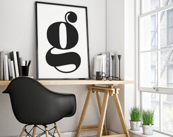 Printable Lowercase Letter G Poster - Monochrome Letters - Modern Typography - Contemporary Wall Decor - Scandanvian - Alphabet - DIGITAL
