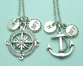 SET of TWO Compass & Anchor BFF charm necklaces, best friend necklaces, bff 2, personalised initial necklaces, initial charm, friendship