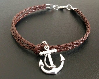 """Mens 8"""" Leather bracelet with tibetan silver Anchor charm"""