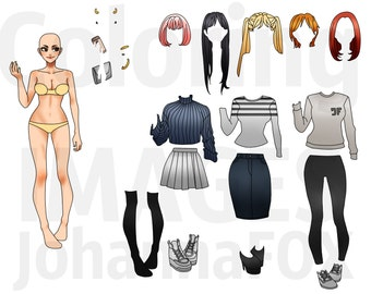 Printable Paper Doll Instant Download Anime Street Fashion Modern with many Outfits Street Style