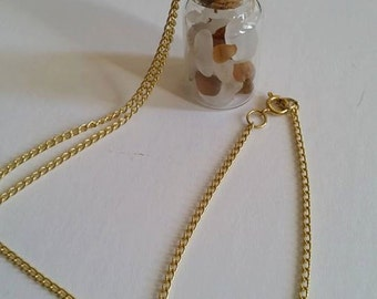 Beach Glass Bottle Necklace with Chain