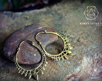 Boho Lotus Earrings, Sacred Geometry, Brass Jewelry, Tribal Earrings, Indian Jewelry, Ethnic Jewelry, Bohemian Jewelry, Yoga Jewelry