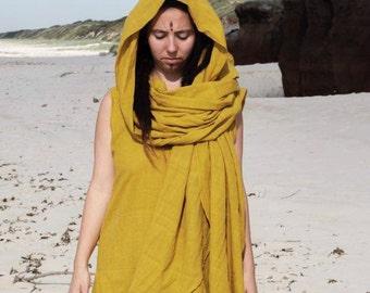 EARTH SARI Dress Khadi Earthy Clothing Boho Ethereal Tribal Queen Indian Goddess Organic Natural Hand Woven Tribal Clothing