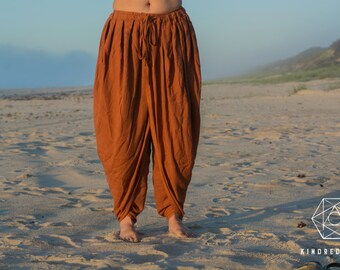 DHOTI PANTS Rust Women Khadi Pants Earthy Clothing Organic Natural Hand Woven Tribal Clothing Harem Dhoti Indian Pants