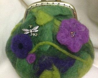 Felted Dragonfly Garden Purse/Makeup Bag