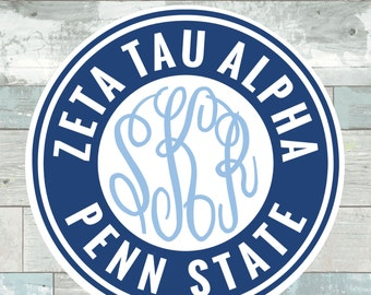 Zeta Tau Alpha Penn State Monogram Frame Cutting Files in Svg, Eps, Dxf, Png for Cricut & Silhouette | Nittany Lions Sports Graphics