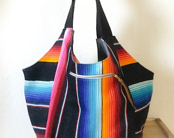 Luna Hobo Bag / Mexican Blanket/ Festival Bag/ Diaper Bag / Large Hobo Bag