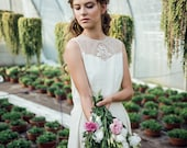 Organic silk wedding gown embellished with hand-made bobbin lace (VULPECULA II)