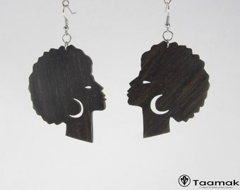 Earrings Afro Queen Gabon ebony