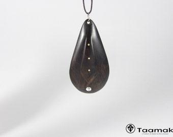 Carved ebony wood pendant necklace