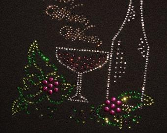 Wine Wine Wine! Rhinestone  bling  shirt,  all sizes XS, S, M, L, XL, XXL, 1X, 2X, 3X, 4X, 5X