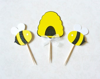 Beehive & Bee Toppers - Bee Topper, Bumblebee, Beehive Topper, Cupcake Topper, Birthday Party, Party Decor