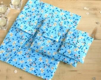 Organic Fabric Pouch-Cloud 9 Butterfly Garden. Reusable Gift Wrap, butterfly gift wrap, butterfly gift bag. Small, Medium & Large