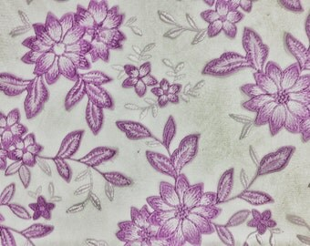 """Lavender Lilac Floral Embroidered Lace 52""""-59"""" Width Fabric By the Yard Classy Sun Dress Elegant Flowers New Prom Light Violet Light Purple"""