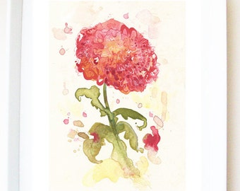 Art print of original watercolour and mixed media painting, flower illustration, 'Pink chrysanthemum', floral, chrysanthemum illustration