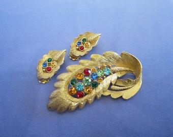 Rhinestone and Gold Tone Leaf  Pin Brooch, Earrings Set