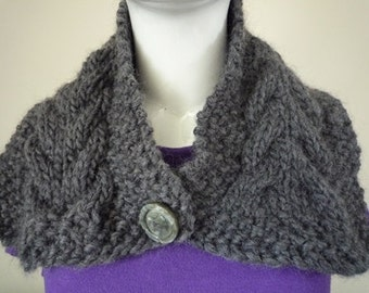 Dark grey hand knit cabled collar with button closure, wool