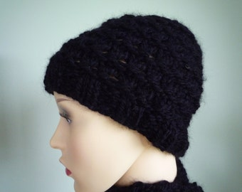 Hand knit wool and alpaca black beanie hat