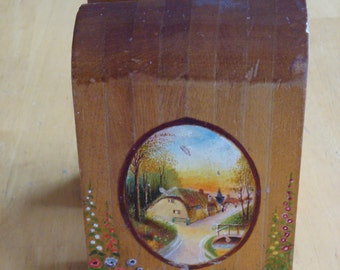 REDUCED Art Deco Vintage Hand Painted Wood Bookends