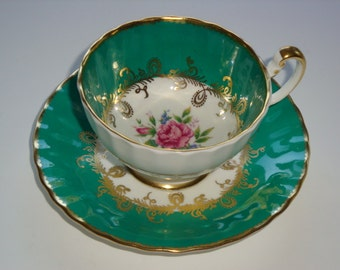 Aynsley Emerald Green Gold and Rose Cup and Saucer