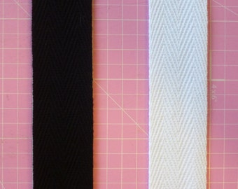 Cotton Webbing 1 inch / 25mm wide Black or White