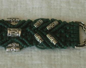 "Micro Macrame Bracelet, ""Nergal"" Green waxed Rayon"