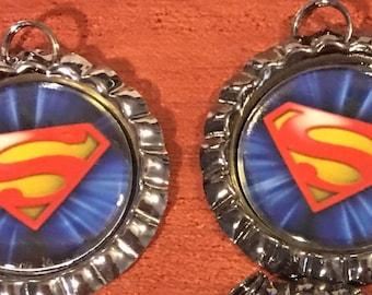 6 Superman bottle cap necklaces