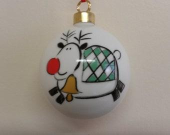 Personalized Fine Bone China Christmas Rudi Bauble