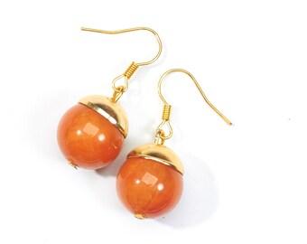 Earrings orange balls gold