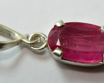 High Quality Pink Tourmaline Necklace , Sterling Pendant