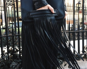 Fringe Clutch Bag, Leather Fringe bag, Black Fringe Bag, Fringe Clutch, Fringe Purse