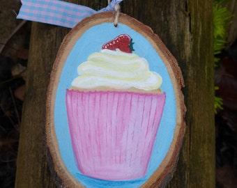Hand Painted Cupcake Tree Slice