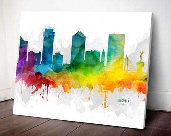 Wichita Skyline Canvas, Wichita Print, Wichita Art, Wichita Gift Idea, Wichita Cityscape, MMR-USKSWI05C