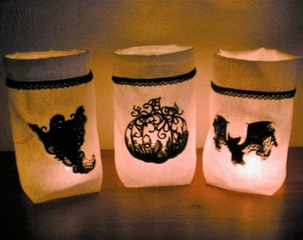 Light bag Vasenhusse Halloween ghost, pumpkin, bat black white linen