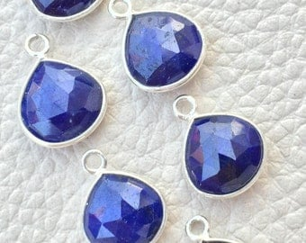 925 Sterling Silver,Natural Dyed Blue SAPPHIRE Faceted Heart Shape Pendent,1 Piece of 13mm