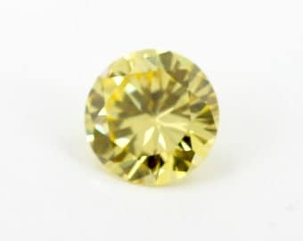 9mm Round Canary Yellow Cubic Zirconia Gemstone