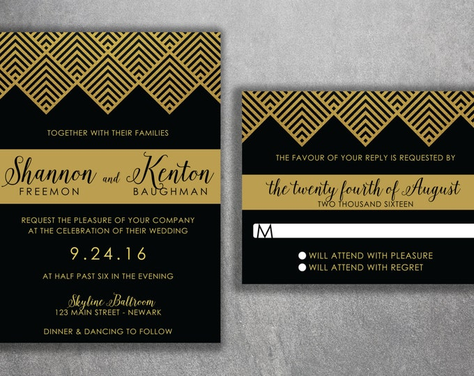 Art Deco Gold and Black Wedding Invitations Set Printed - Cheap Wedding Invitations, Affordable Invitations, Modern, RSVP, 50's, Elegant