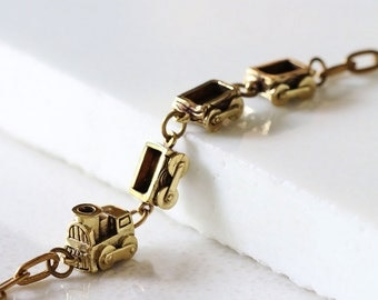 Bogey Train Bracelet / Linen Jewelry / Trains Bracelet / Brass Bracelet