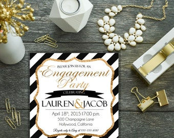 Personalized-Digital Download Black,White, and Gold Engagement Party Invite