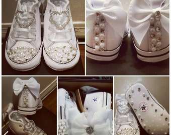 Infants Diamonds & Pearls Converse w/Matching Hair Bow