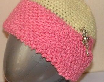 Unique, Pink Collor Cap, of Soft Wool, Medium Size Handmade, Crochet