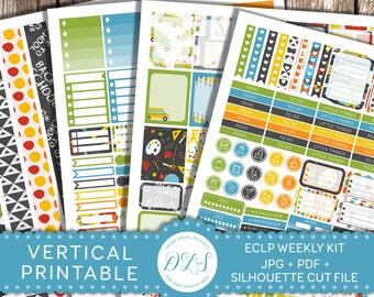 Back to School Planner Stickers, Printable Weekly Stickers Kit, Weekly Kit Vertical Planner, for use with Erin Condren LifePlanner™, VS111