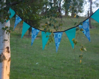 Mint and Navy Bunting