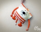 Cat Pillow, Boy and Girl Funny Pillows, Stripped Cat Pillow, Orange Cat, Knit Pillow