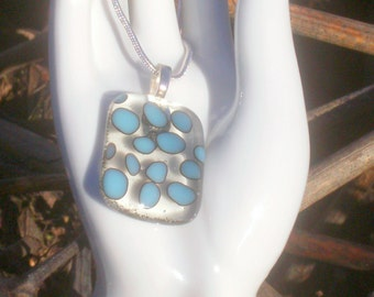 Clear and Turquoise reactive glass pendant      (1014)