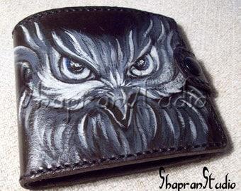 """Leather Wallet, Handmade wallet, """"The Owl"""", Bi-fold wallet, Gift"""