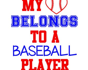 My heart belongs to a baseball player decal- baseball decal, baseball mom, baseball girlfriend, GLITTER available