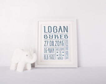 Personalised foil birth print - Custom made
