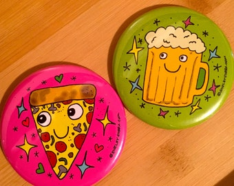 Pizza or Beer Pocket Mirror